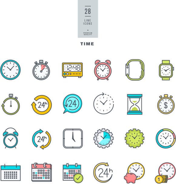 Line modern color icons set on the theme of time vector art illustration