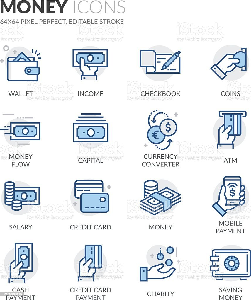 Line Money Icons Simple Set of Money Related Color Vector Line Icons. Contains such Icons as Wallet, Credit Card Payment, Money Flow and more. Editable Stroke. 64x64 Pixel Perfect. ATM stock vector