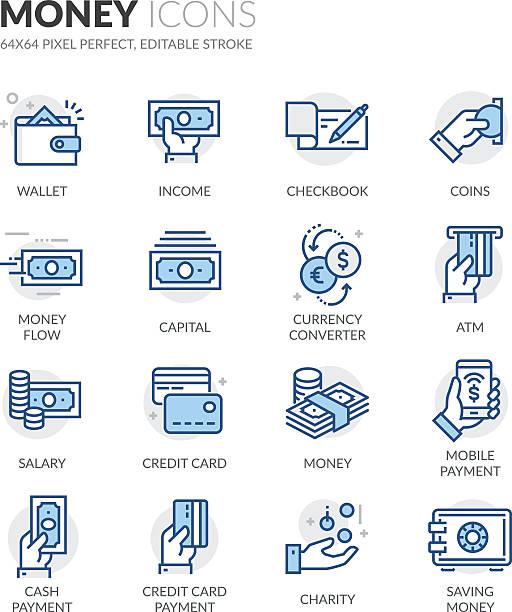 ilustrações, clipart, desenhos animados e ícones de ícones monetários da linha - banco edifício financeiro
