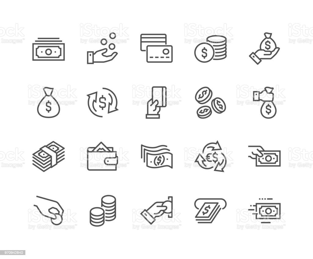 Line Money Icons Simple Set of Money Related Vector Line Icons. Contains such Icons as Wallet, ATM, Bundle of Money, Hand with a Coin and more. Editable Stroke. 48x48 Pixel Perfect. ATM stock vector