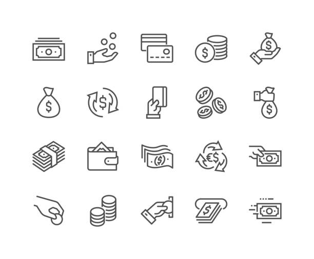 Line Money Icons Simple Set of Money Related Vector Line Icons. Contains such Icons as Wallet, ATM, Bundle of Money, Hand with a Coin and more. Editable Stroke. 48x48 Pixel Perfect. currency stock illustrations