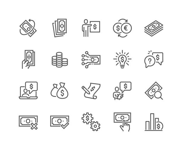 line money icons - пищевая цепь stock illustrations
