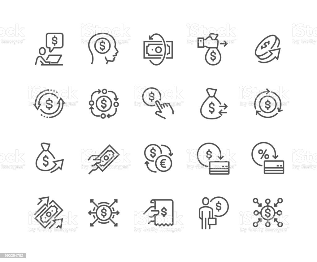 Line Money Movement Icons line money movement icons - immagini vettoriali stock e altre immagini di accarezzare royalty-free