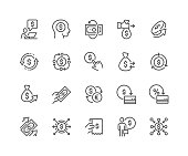 Simple Set of Money Movement Related Vector Line Icons. Contains such Icons as Investment, Send Money, Mass Pay and more. Editable Stroke. 48x48 Pixel Perfect.