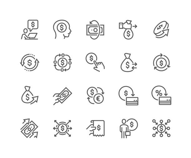 Line Money Movement Icons Simple Set of Money Movement Related Vector Line Icons. Contains such Icons as Investment, Send Money, Mass Pay and more. Editable Stroke. 48x48 Pixel Perfect. fee stock illustrations