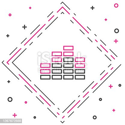 Line Music equalizer icon isolated on white background. Sound wave. Audio digital equalizer technology, console panel, pulse musical. Colorful outline concept. Vector Illustration