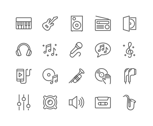 Line Music Icons Simple Set of Music Related Vector Line Icons. Contains such Icons as Guitar, Treble Clef, In-ear Headphones, Trumpet and more. Editable Stroke. 48x48 Pixel Perfect. radio stock illustrations