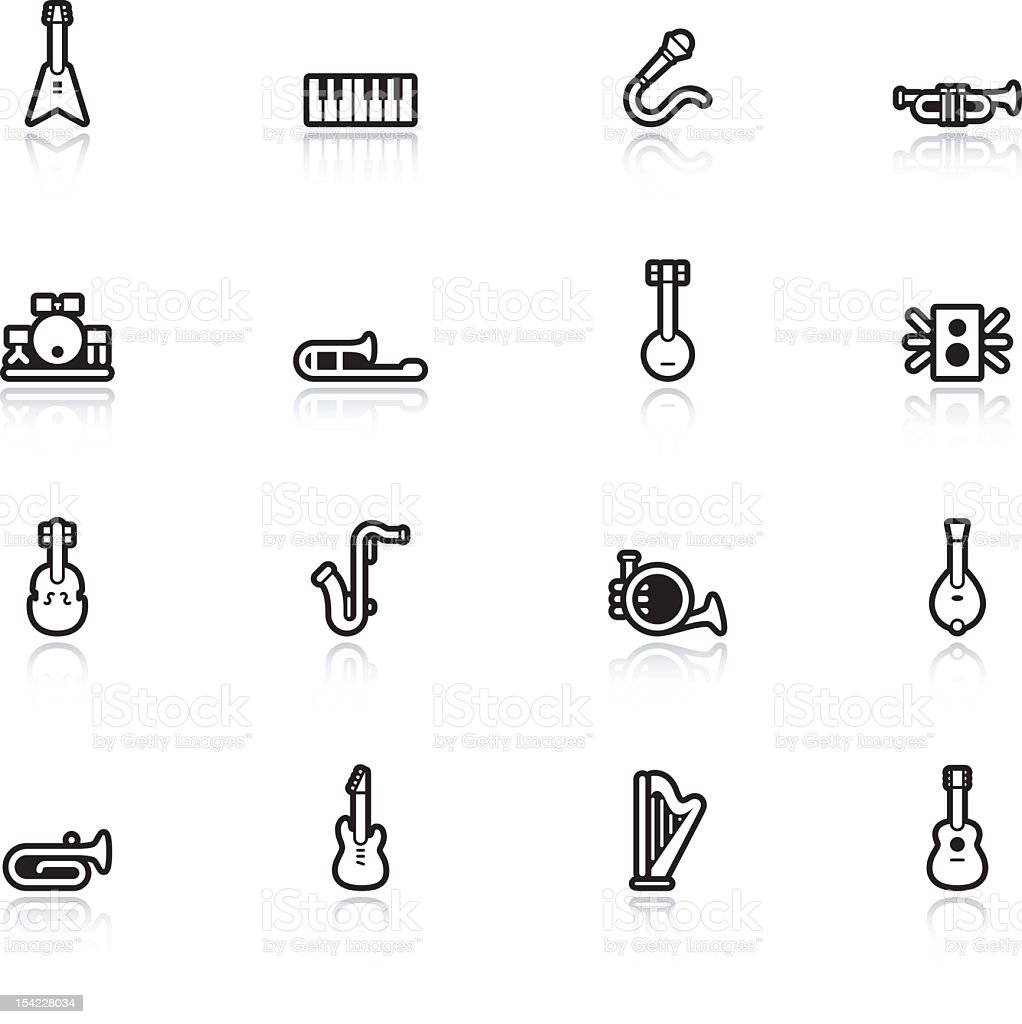 Line Musical Instrument Icons royalty-free stock vector art