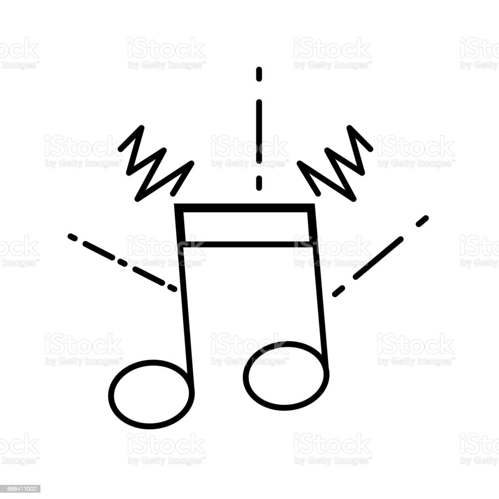 line musical note sign to rhythm sound vector art illustration