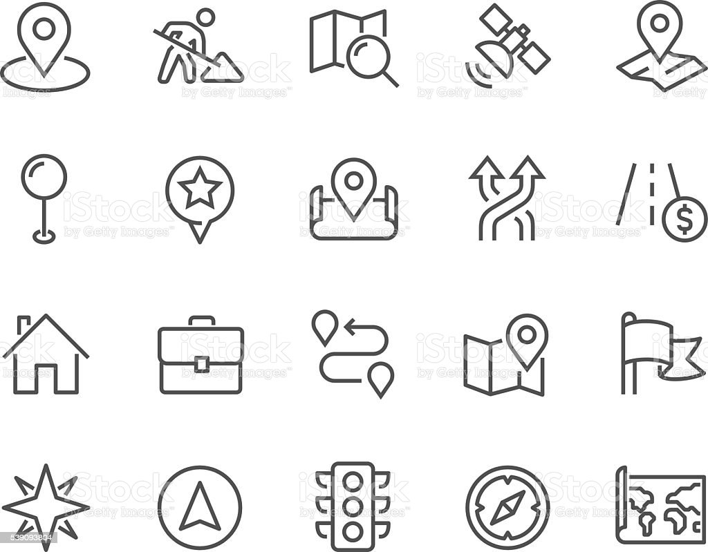Line Navigation Icons vector art illustration