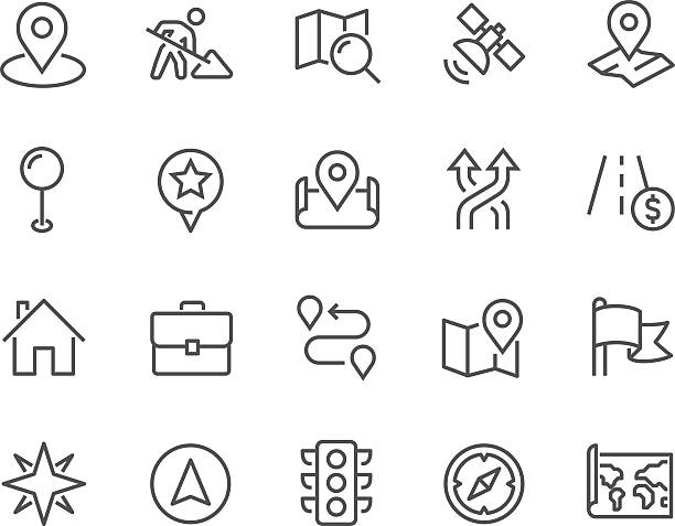 line navigation icons - maps icons stock illustrations, clip art, cartoons, & icons