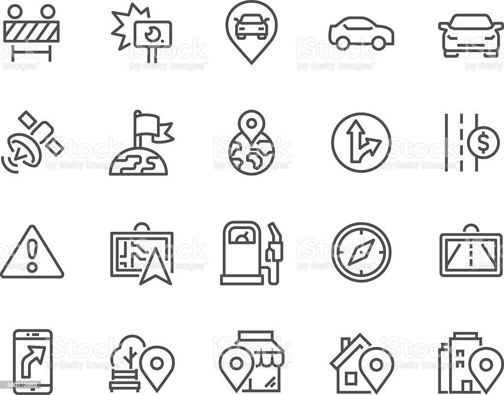 Line Navigation Icons vector art illustration