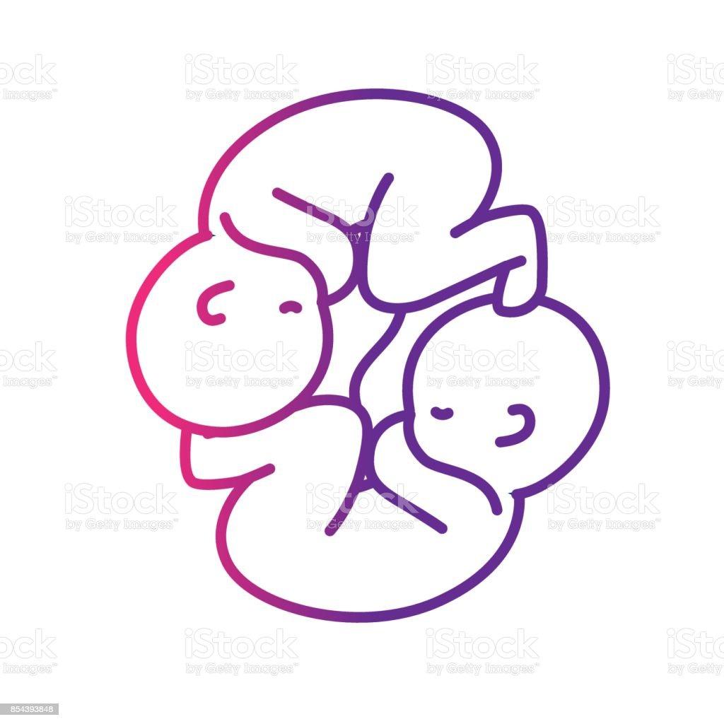 Ilustración de Línea Niza Bebés A Gemelos Con Cordón Umbilical y más ...