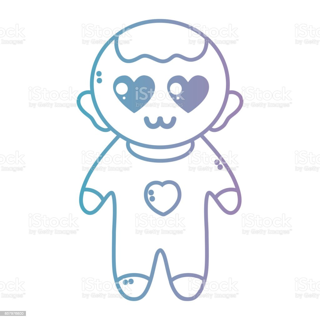 Line Nice Baby Boy With Pijama And Hairstyle Stock Vector Art More
