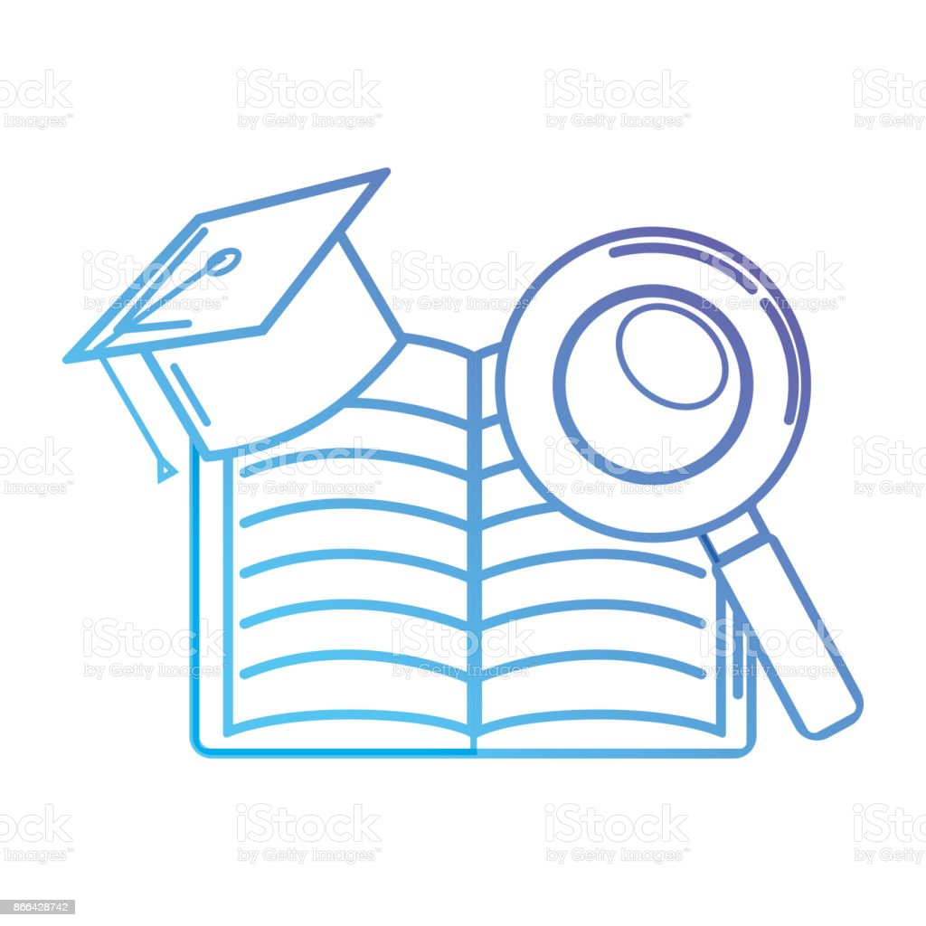 line notebook and cap graduation with magnifying glass vector art illustration