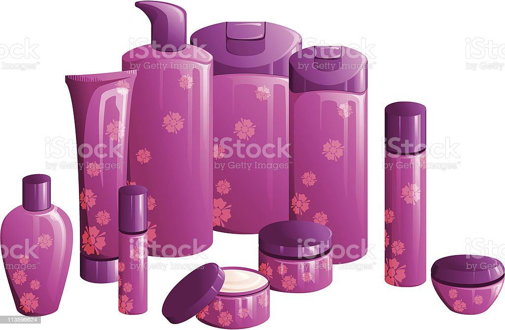 Line of beauty products, with a purple flower design royalty-free stock vector art