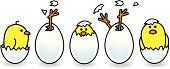 Illustration of a line of Five Easter Chicks Hatching from White Eggs in various poses on Isolated Background