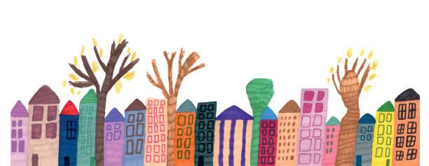 stockillustraties, clipart, cartoons en iconen met lijn van huizen en bomen - buren