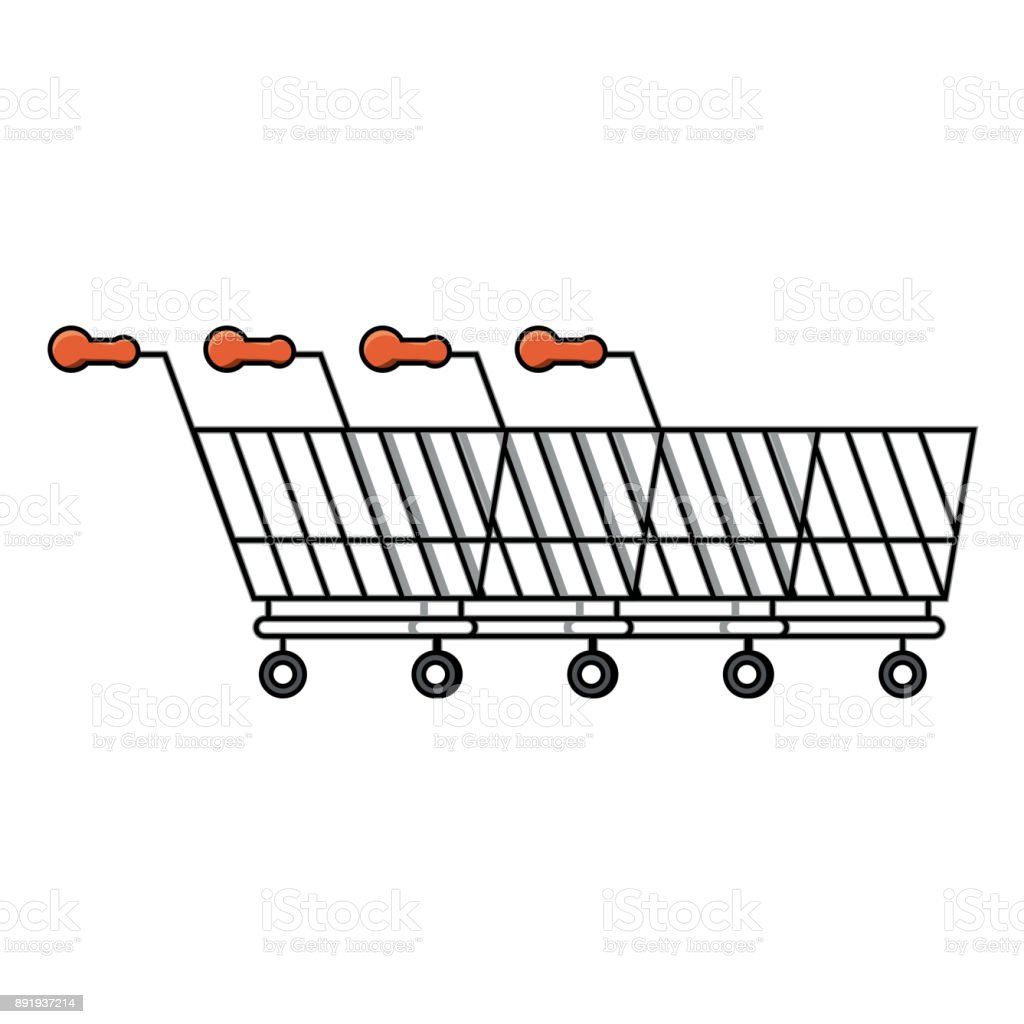 Line of Shopping Carts icon vector art illustration