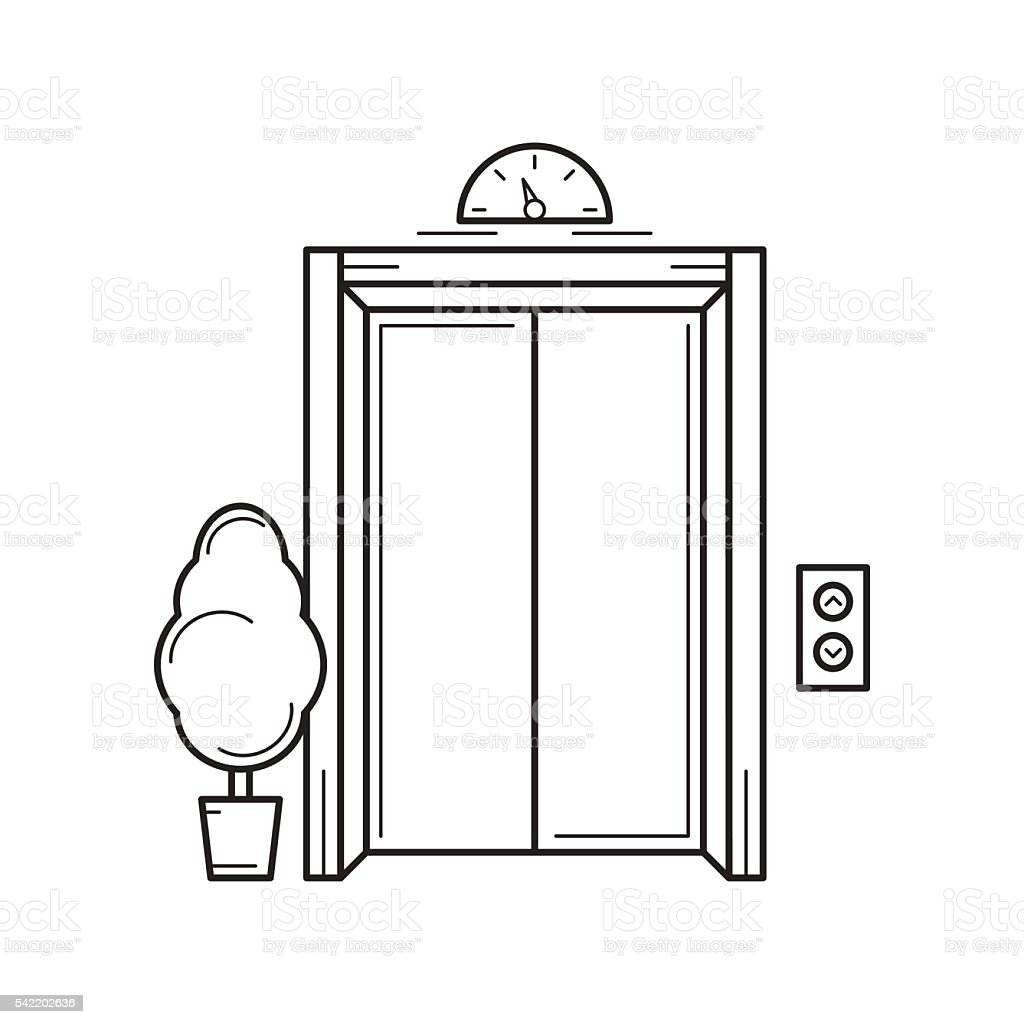 Line office building elevator and tree. Isolated vector illustration. vector art illustration