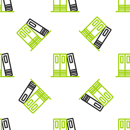 Line Office folders with papers and documents icon isolated seamless pattern on white background. Office binders. Archives folder sign. Vector