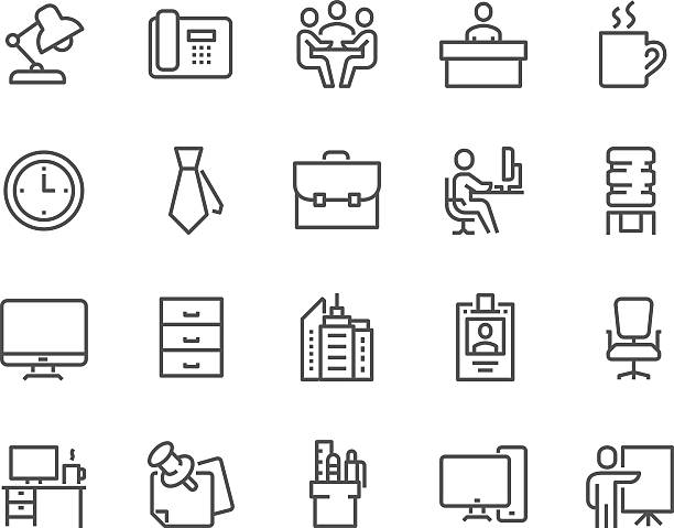 bildbanksillustrationer, clip art samt tecknat material och ikoner med line office icons - office workers talking