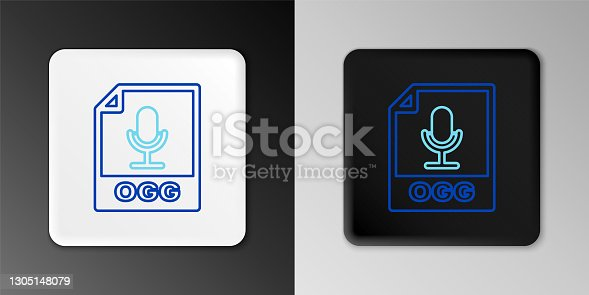 istock Line OGG file document. Download ogg button icon isolated on grey background. OGG file symbol. Colorful outline concept. Vector 1305148079