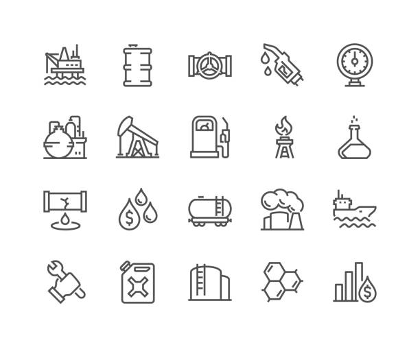 Line Oil Icons Simple Set of Oil Related Vector Line Icons. Contains such Icons as Gas Station, Oil Factory, Transportation and more. Editable Stroke. 48x48 Pixel Perfect. oil and gas stock illustrations
