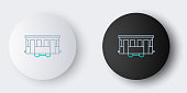 Line Old city tram icon isolated on grey background. Public transportation symbol. Colorful outline concept. Vector