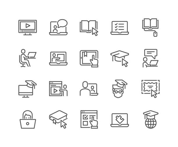 Line Online Education Icons Simple Set of Online Education Related Vector Line Icons. Contains such Icons as Video Tutorial, E-book, On-line Lecture, Education Plan and more. Editable Stroke. 48x48 Pixel Perfect. practicing stock illustrations