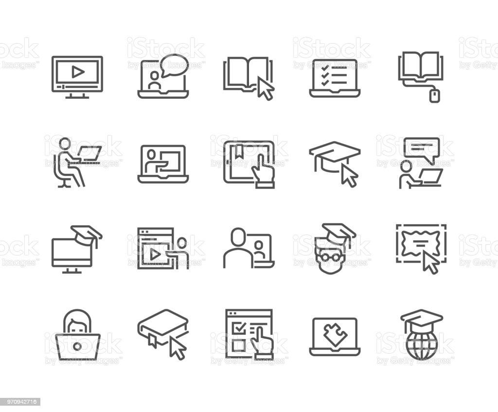 Line Online Education Icons vector art illustration
