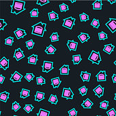 istock Line Online ordering and fast food delivery icon isolated seamless pattern on black background. Vector 1272473873