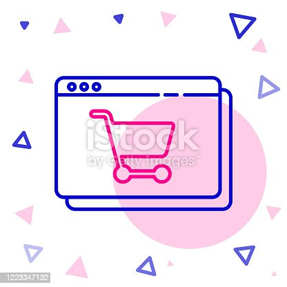 istock Line Online shopping on screen icon isolated on white background. Concept e-commerce, e-business, online business marketing. Colorful outline concept. Vector Illustration 1223347132