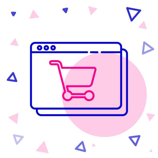 ilustrações de stock, clip art, desenhos animados e ícones de line online shopping on screen icon isolated on white background. concept e-commerce, e-business, online business marketing. colorful outline concept. vector illustration - ucrânia