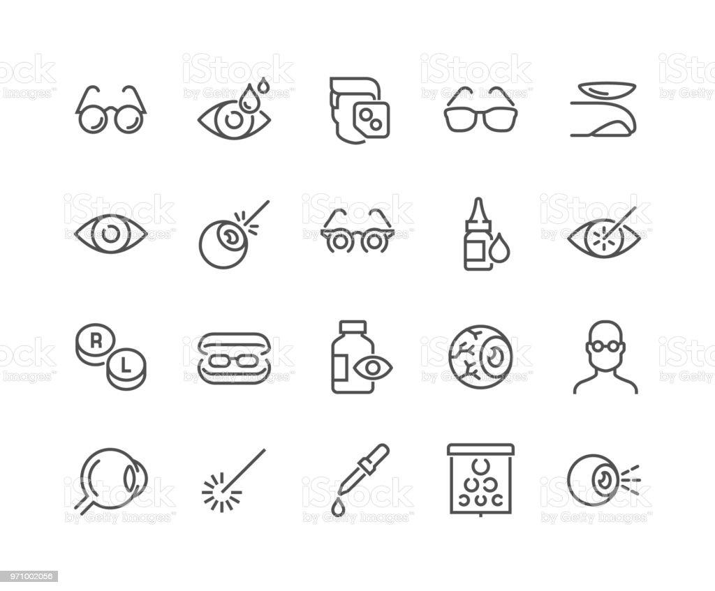 Lijn optometrie pictogrammen - Royalty-free Aaien vectorkunst