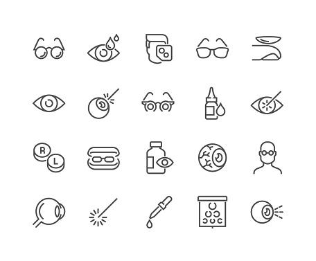 Line Optometry Icons — стоковая векторная графика и другие изображения на тему Беларусь