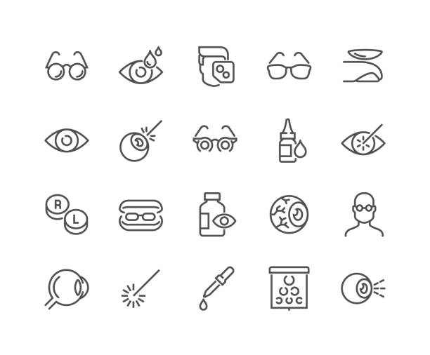 Line Optometry Icons Simple Set of Optometry Related Vector Line Icons. Contains such Icons as Eye Exam, Laser Surgery, Eyeball, Glasses and more. Editable Stroke. 48x48 Pixel Perfect. optical instrument stock illustrations