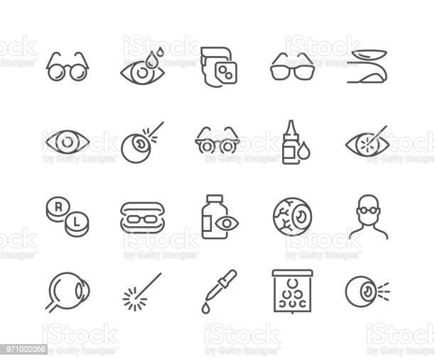 Lijn Optometrie Pictogrammen Stockvectorkunst en meer beelden van Aaien