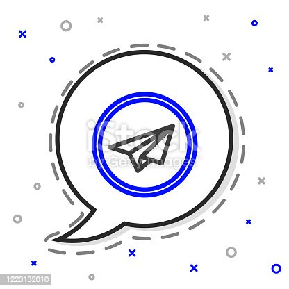 Line Paper plane icon isolated on white background. Paper airplane icon. Aircraft sign. Colorful outline concept. Vector Illustration