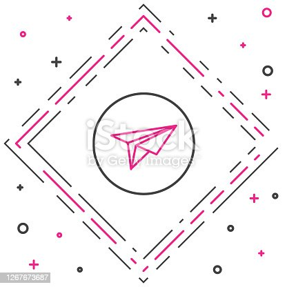 istock Line Paper plane icon isolated on white background. Paper airplane icon. Messenger concept. Colorful outline concept. Vector Illustration 1267673687