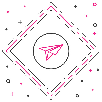 Line Paper plane icon isolated on white background. Paper airplane icon. Messenger concept. Colorful outline concept. Vector Illustration