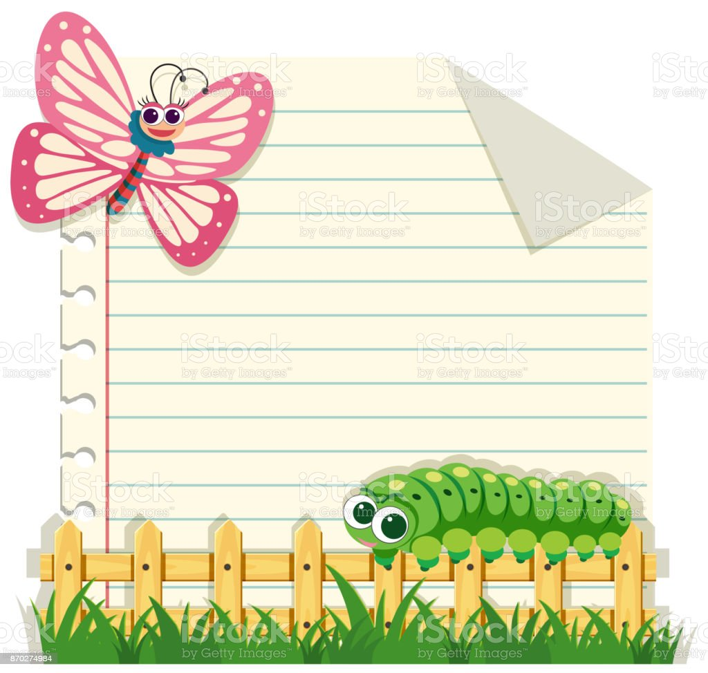 line paper template with butterfly and caterpillar stock vector art