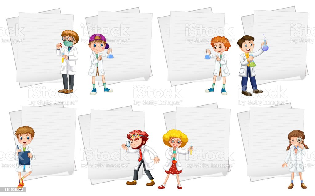 Line paper templates with people in white gowns vector art illustration