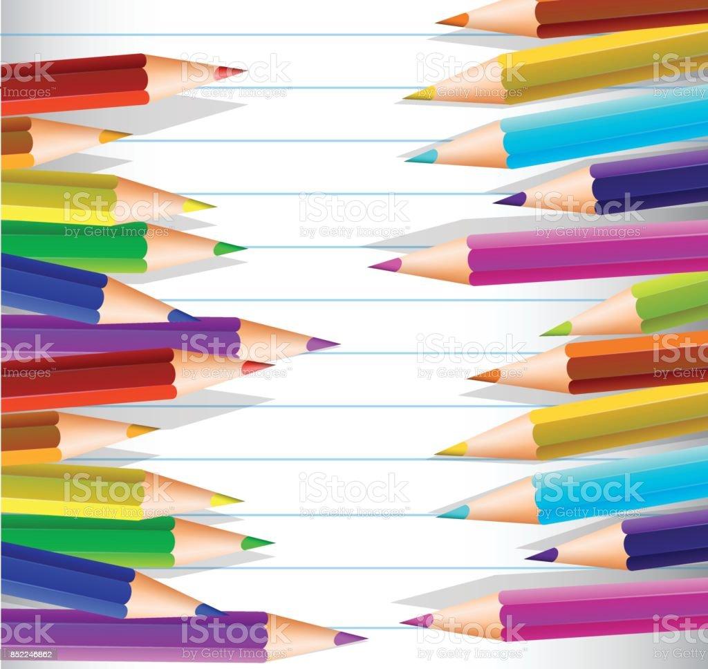 Linie Papier Mit Vielen Farbstiften Auf Seiten Stock Vektor Art und ...