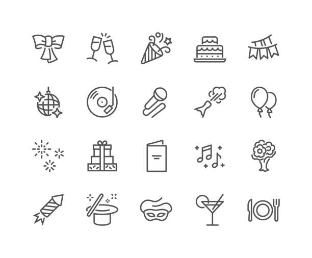 ilustrações de stock, clip art, desenhos animados e ícones de line party icons - alegria