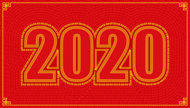 line path around 2020 year character alphabet. lucky number happy chinese new year style. vector illustration eps10 line path around 2020 year character alphabet. lucky number happy chinese new year style. vector illustration eps10 almanac stock illustrations