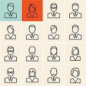 Line people icon. People outline vector set. Linear business people.