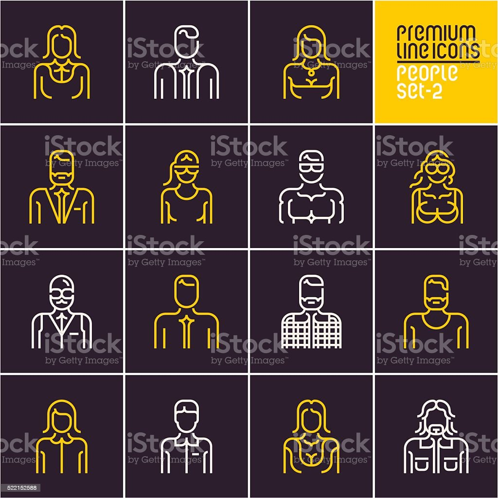 line people icons on dark background vector art illustration