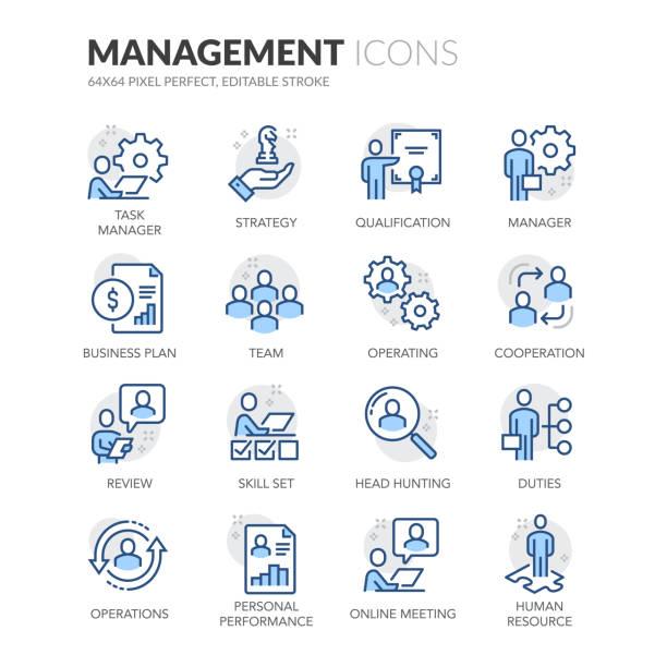 ikony zarządzania ludźmi liniowymi - umiejętność stock illustrations