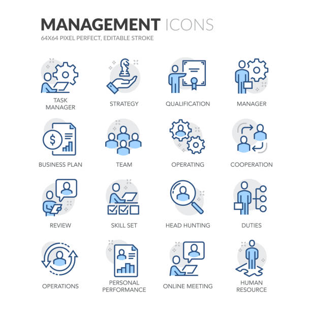 stockillustraties, clipart, cartoons en iconen met pictogrammen voor het beheer van lijnpersonen - directeur